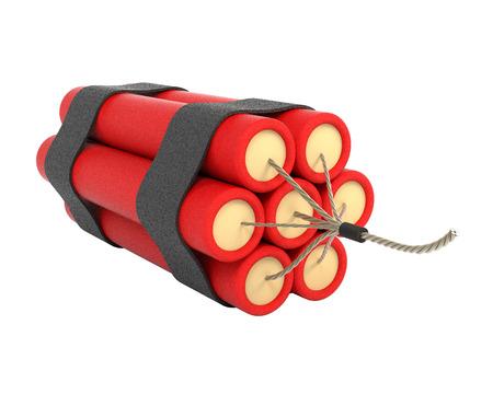 dinamita: Paquete de dinamita aislado sobre fondo blanco. Ilustración 3D.