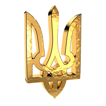 blazonry: Golden trident emblem isolated on a white background. Ukrainian coat of arms. 3d illustration. Stock Photo