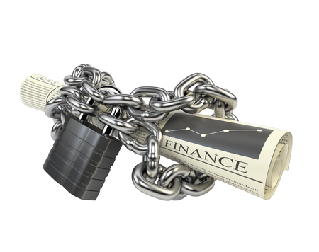 Newspaper fettered chain and padlock, isolated on white background. 3d illustration.