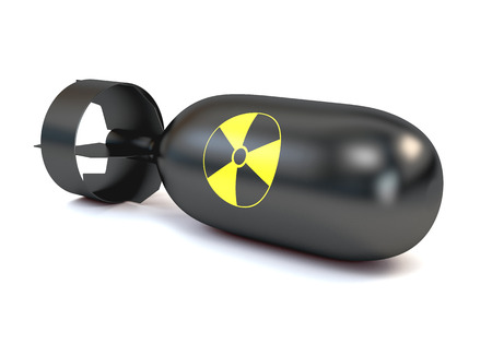 atomic bomb: The atomic bomb with a round icon radiation, isolated on a white background. 3d illustration.