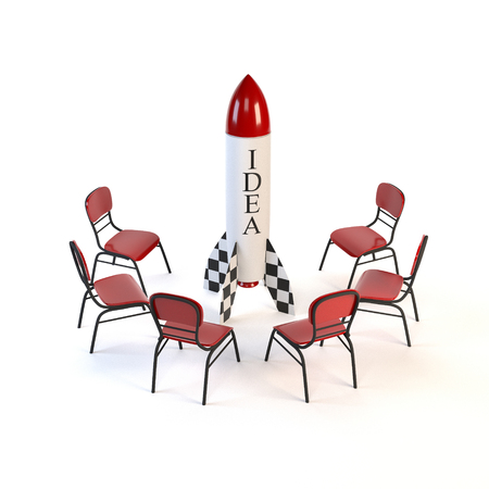 implementation: Set of red chairs and one rocket isolated on white background. The concept of business ideas and implementation of the strategic plan. 3d illustration.
