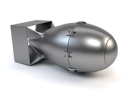 nuclear bomb: Grey nuclear bomb isolated on a white background. 3d illustration.