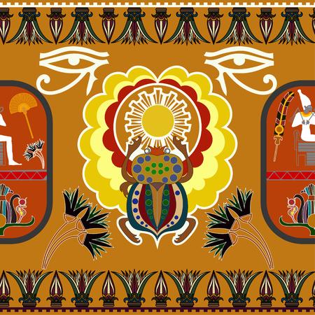 ethno: Seamless ethnic pattern with the figure of Pharaoh, lotus flowers. Vector illustration Illustration
