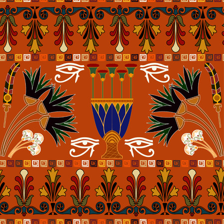Seamless ethnic pattern with eye of Ra, lotus flowers. Vector illustration