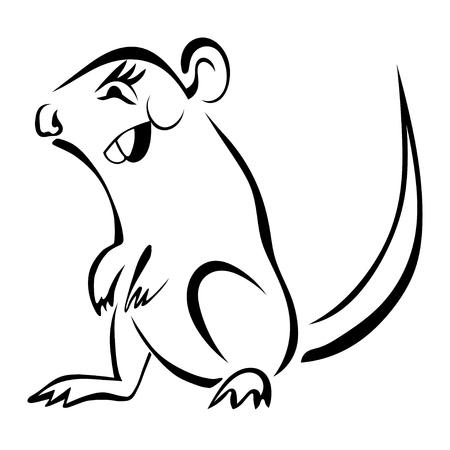 rata caricatura: roedor de la historieta boceto aislado en el fondo blanco.
