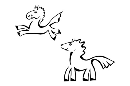 Set Cartoon horse jumping isolated on a white background. Vector illustration.