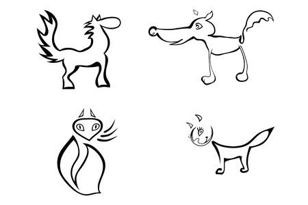 rata caricatura: Conjunto de animales estilizados aislados en un fondo blanco. Dibujos animados. Ilustración del vector.