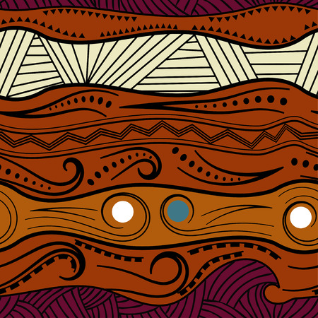 Abstract seamless pattern with African motifs. Vector illustration.  イラスト・ベクター素材