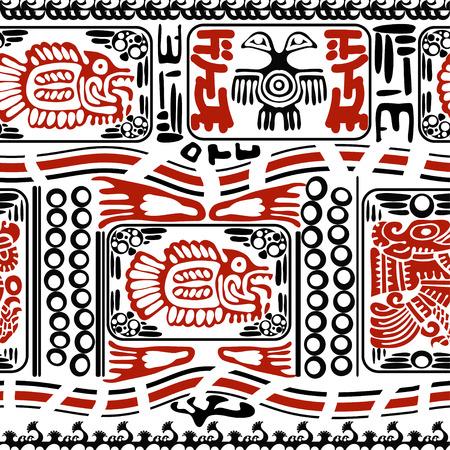 Zwart en rood naadloze patroon met vissen en vogels. vector illustratie