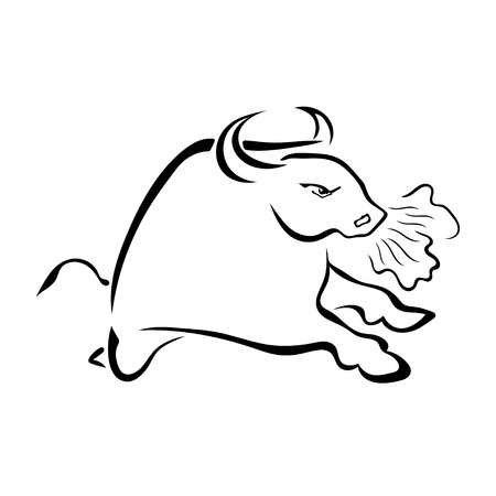 nostrils: Angry bull with the steam from his nostrils isolated on white background. Vector illustration.