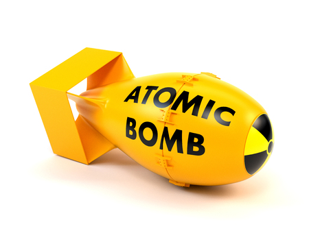 nuclear bomb: Yellow nuclear bomb isolated on a white background. 3d illustration.