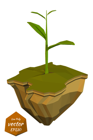 emergence: Young sprout on a abstract island. Low poly style. Vector illustration Illustration