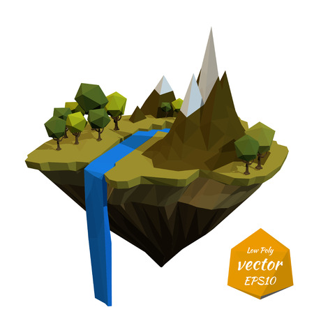 cascade mountains: Flying island with the mountains and the waterfall. Low poly style. Vector illustration