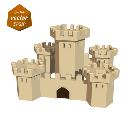 fortress: Fortress towers. Low poly style. Vector illustration.