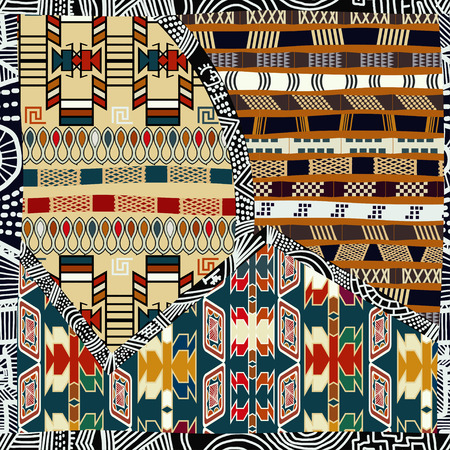 folk art: Indian tribal colored seamless pattern.Vector illustration