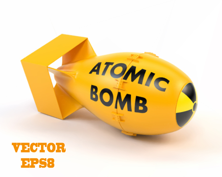 hydrogen bomb: Yellow atomic bomb on a white background. Vector illustration