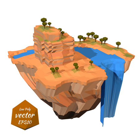 floating island: Floating island with a rock waterfall. Lowpoly style. Vector illustration