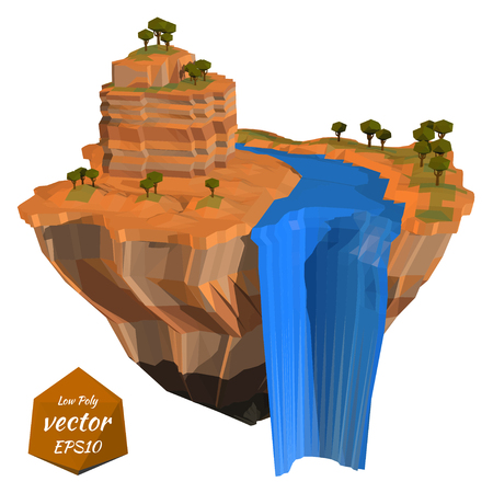 floating island: Abstract floating island with a rock waterfall. Low poly style. Vector illustration Illustration