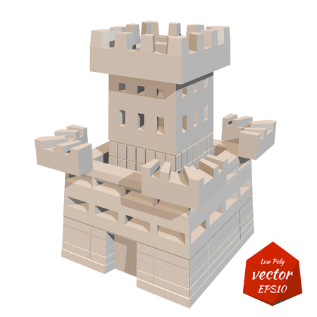 knightly: Fortress tower. Vector illustration. Low poly style. Illustration