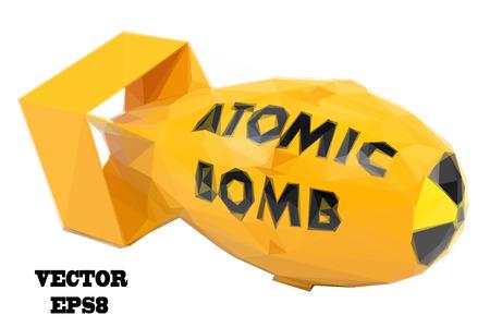 bombe atomique: bombe atomique jaune stylisé sur un fond blanc. Vector illustration