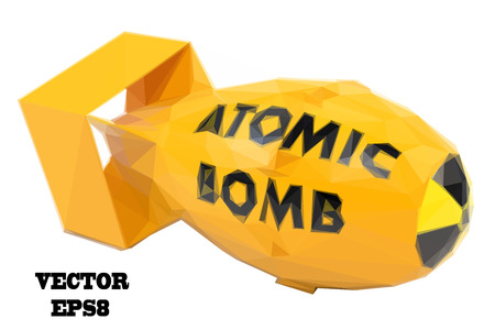 atomic bomb: Stylized yellow atomic bomb on a white background. Vector illustration
