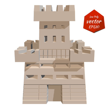 fortress: Castle tower. Vector illustration. Low poly style.