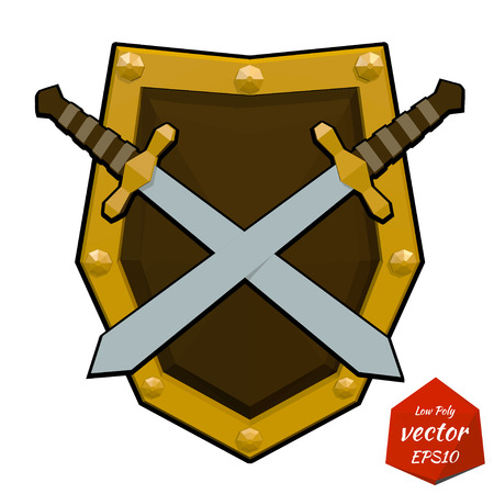 combative: Low poly shield and swords. Vector illustration