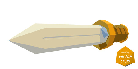 longsword: Low poly sword on a white background. Vector illustration.