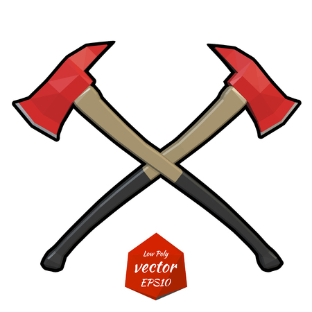 Two crossed firefighter ax on a white background. Vector illustration