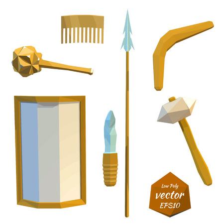 hombre prehistorico: Conjunto de herramientas del hombre prehistórico