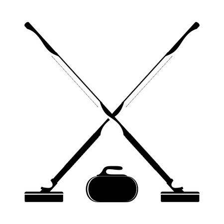 curling stone: Brooms and stone for curling on a white background. Vector illustration.
