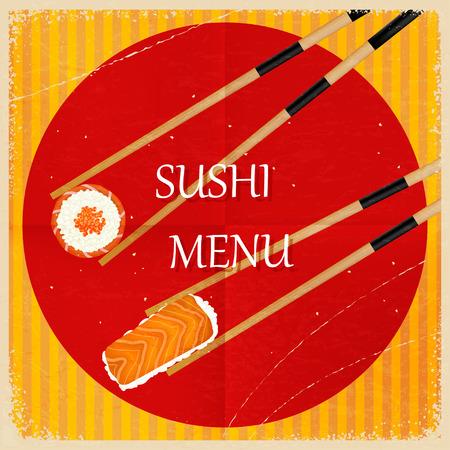susi: Retro vintage sushi menu. Vector illustration