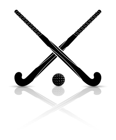 shinny: Two black silhouettes sticks for field hockey and ball on a white background with reflection. Vector illustration.