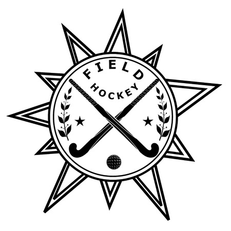 shinny: Two black silhouettes sticks for field hockey, ball on an abstract star. Vector illustration.