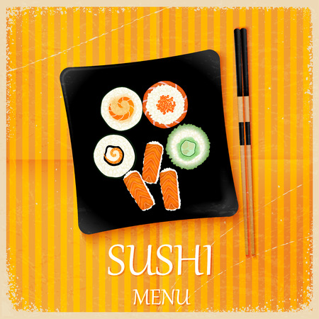 sushi  plate: Retro vintage sushi menu with a square plate. Vector illustration