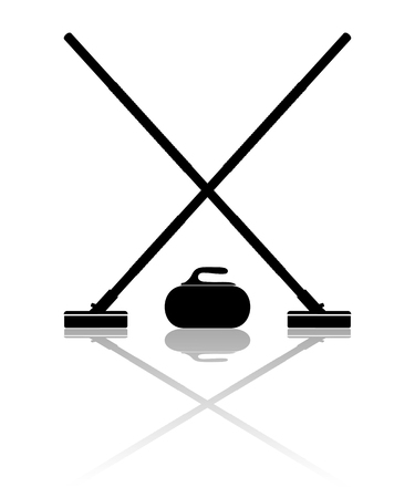 Brooms and stone for curling with reflection on a white background. Vector illustration.