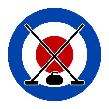 Brooms and stone for curling on Curling House. Vector illustration.