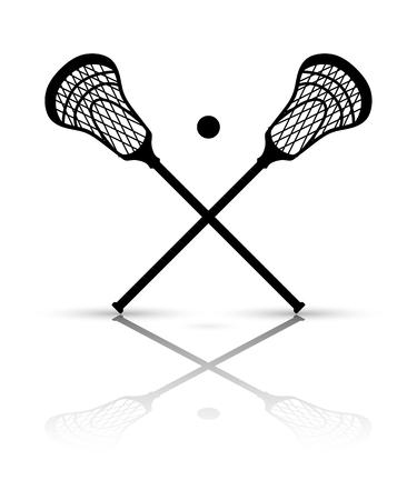 Attraversato bastone lacrosse e palla con la riflessione. illustrazione di vettore Vettoriali