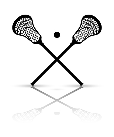 Crossed lacrosse stick and ball with reflection. Vector illustration