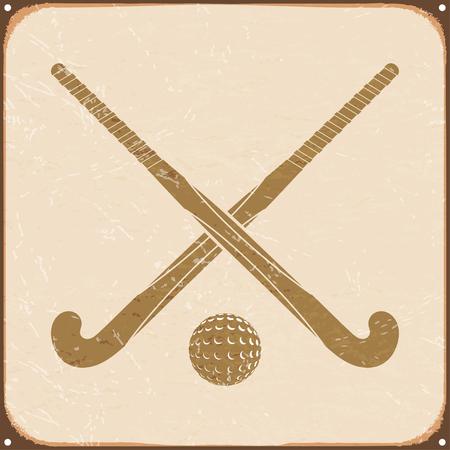 hockey sobre cesped: retro de la vendimia con el hockey sobre hierba se�al. ilustraci�n vectorial