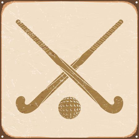 field hockey: Vintage retro with sign field hockey. Vector illustration