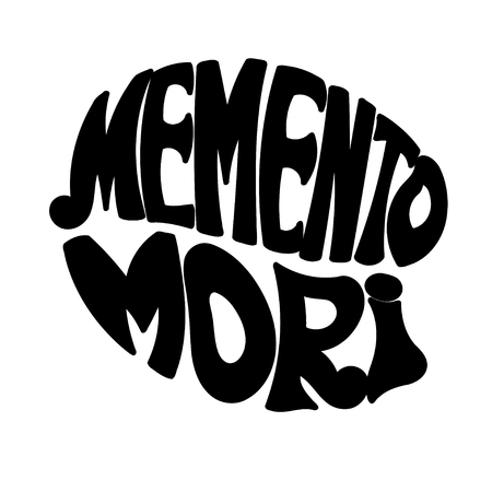 memento: Memento Mori - handmade designer label on a white background. Design element for printing . Vector illustration Illustration