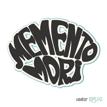 mori: Memento Mori. Latin saying in retro style. Vector illustration Illustration