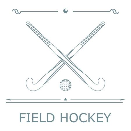 Twee silhouetten sticks voor hockey en bal op een gekleurde achtergrond. Vector illustratie. Vector Illustratie