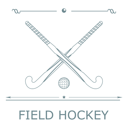 field hockey: Two silhouettes sticks for field hockey and ball on a colored background. Vector illustration.