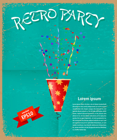 poppers: Retro card of the invitation to the party. Vintage style. Vector illustration