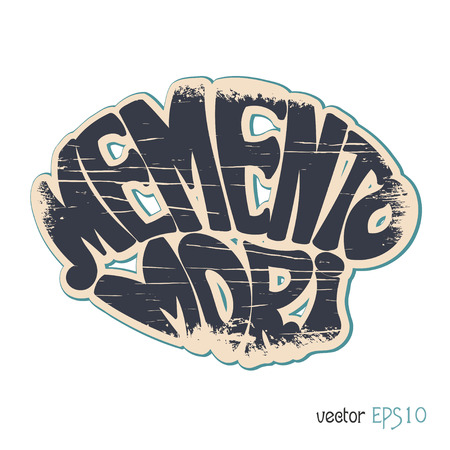 memento: Memento Mori. Latin saying in vintage style. Vector illustration