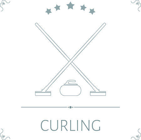 curling stone: Brooms and stone for curling with stars on a white background. Vector illustration. Illustration