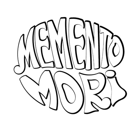 memento: Memento Mori - handmade designer label on a white background. Design element for printing and prints. Vector illustration Illustration