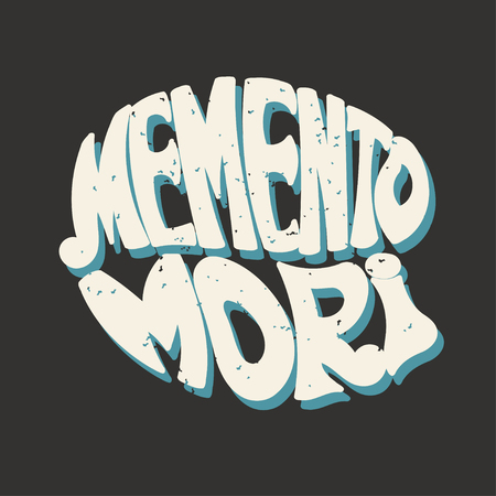memento: Memento Mori. Latin proverb. Hand lettering. Retro style. Vector illustration. Illustration